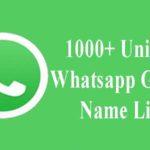 Unique Whatsapp Group Name List
